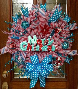 Teal & Red Christmas Wreath by Whimsical Wreaths by Amy