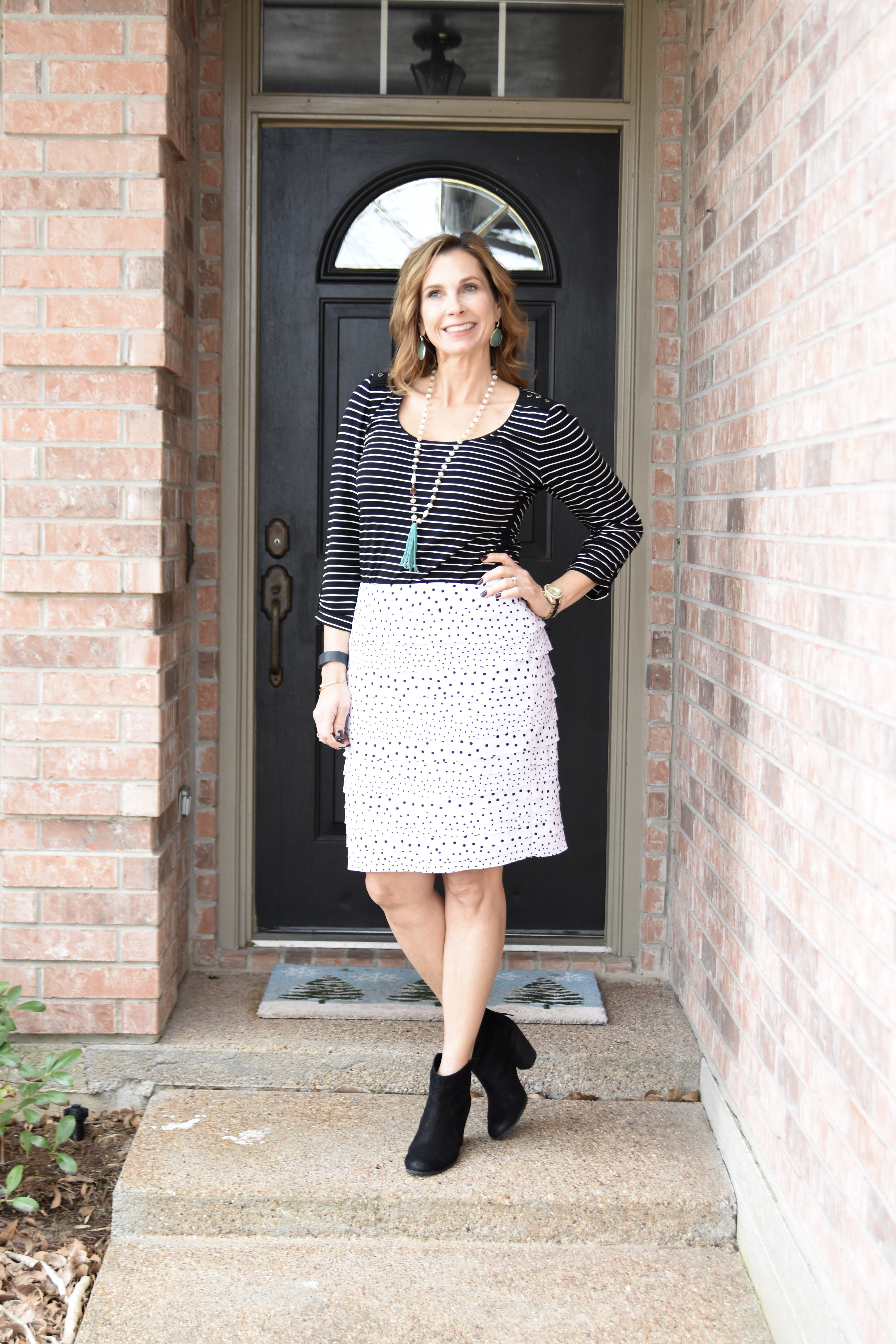 Fashion Blogger, Shelley Janac mixes stripes and polka dots