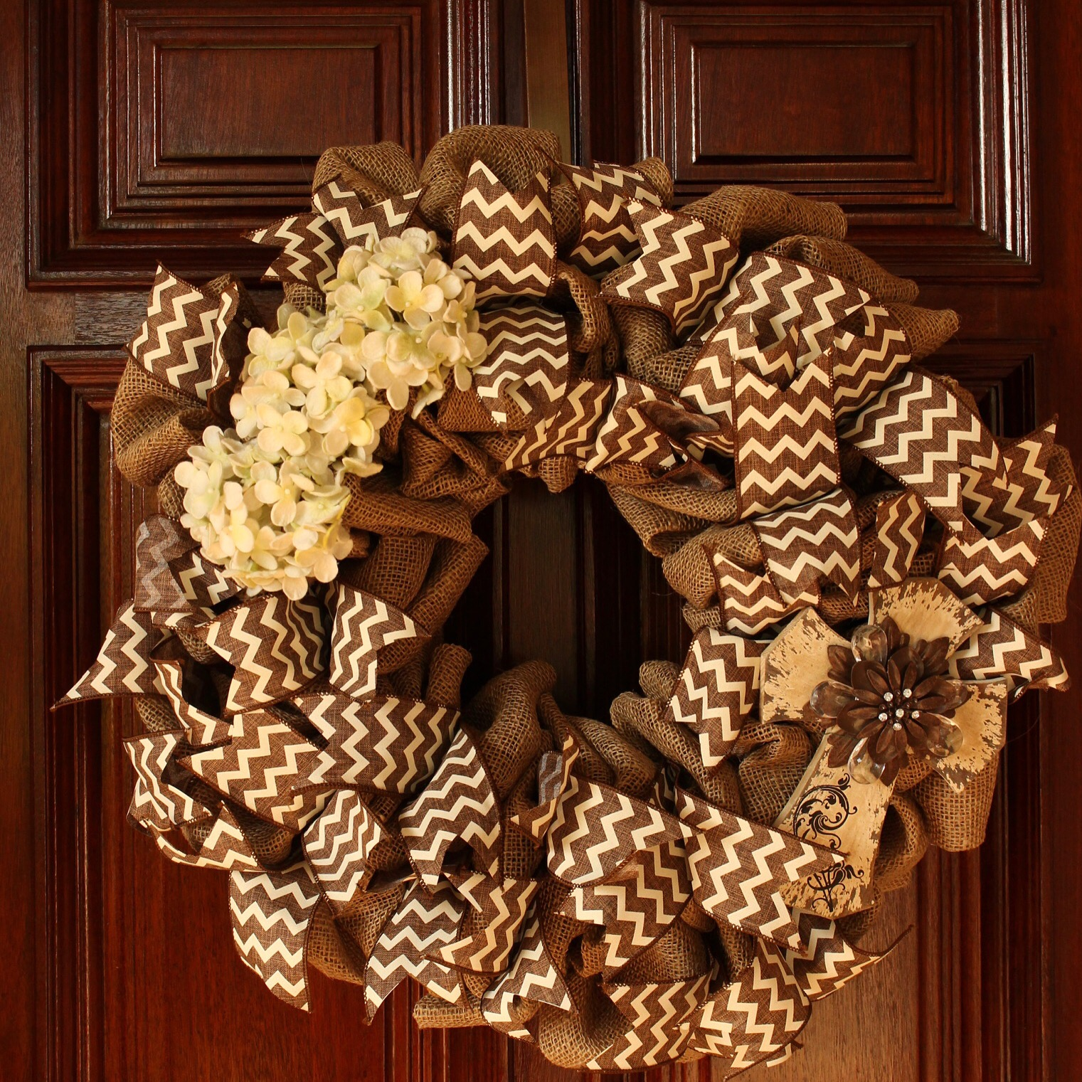 Burlap Wreath with Chevron Ribbon Detail, Flowers and Wooden Cross by Whimsical Wreaths by Amy