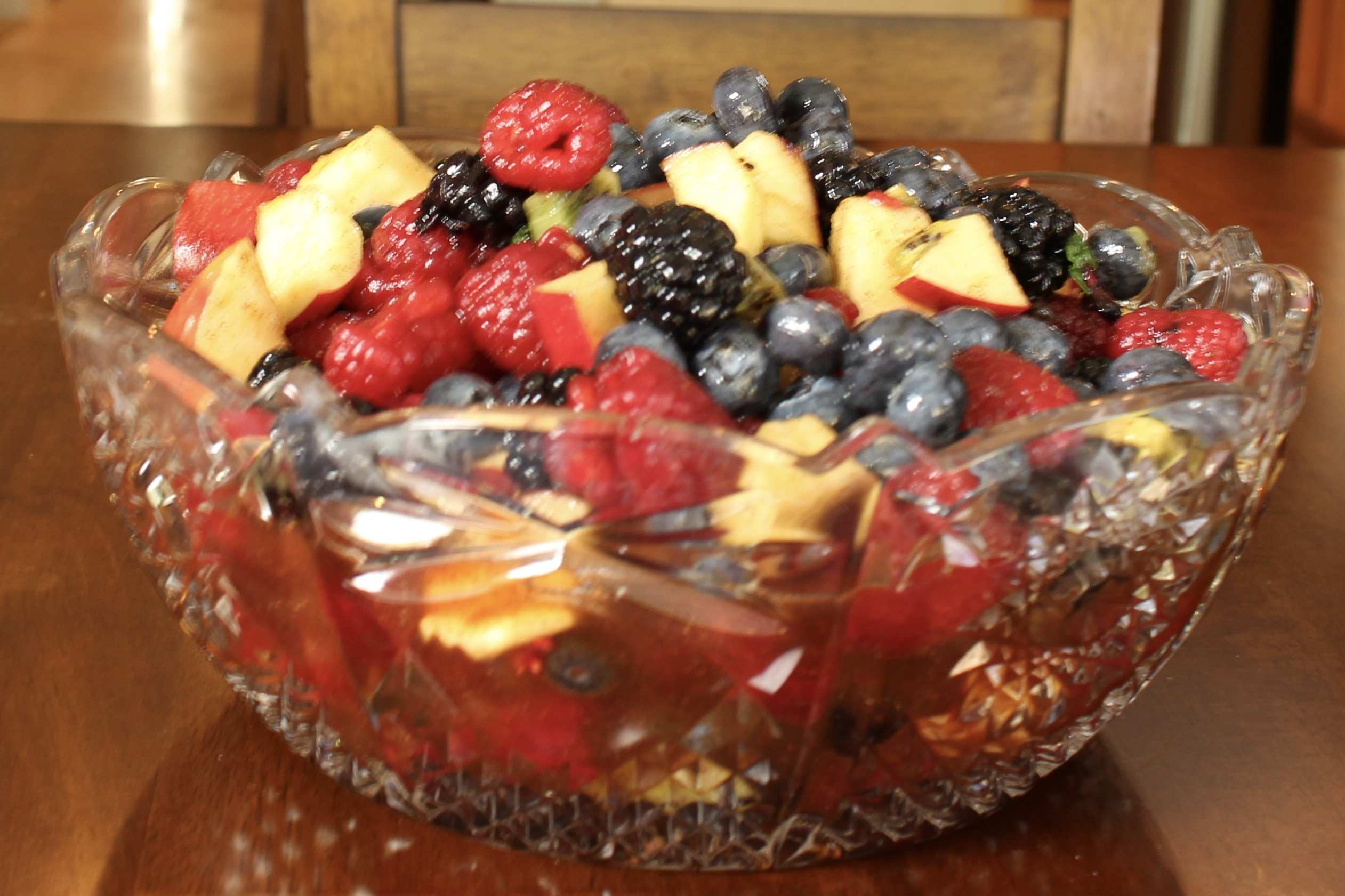 Melange of Fruits Salad in crystal bowl