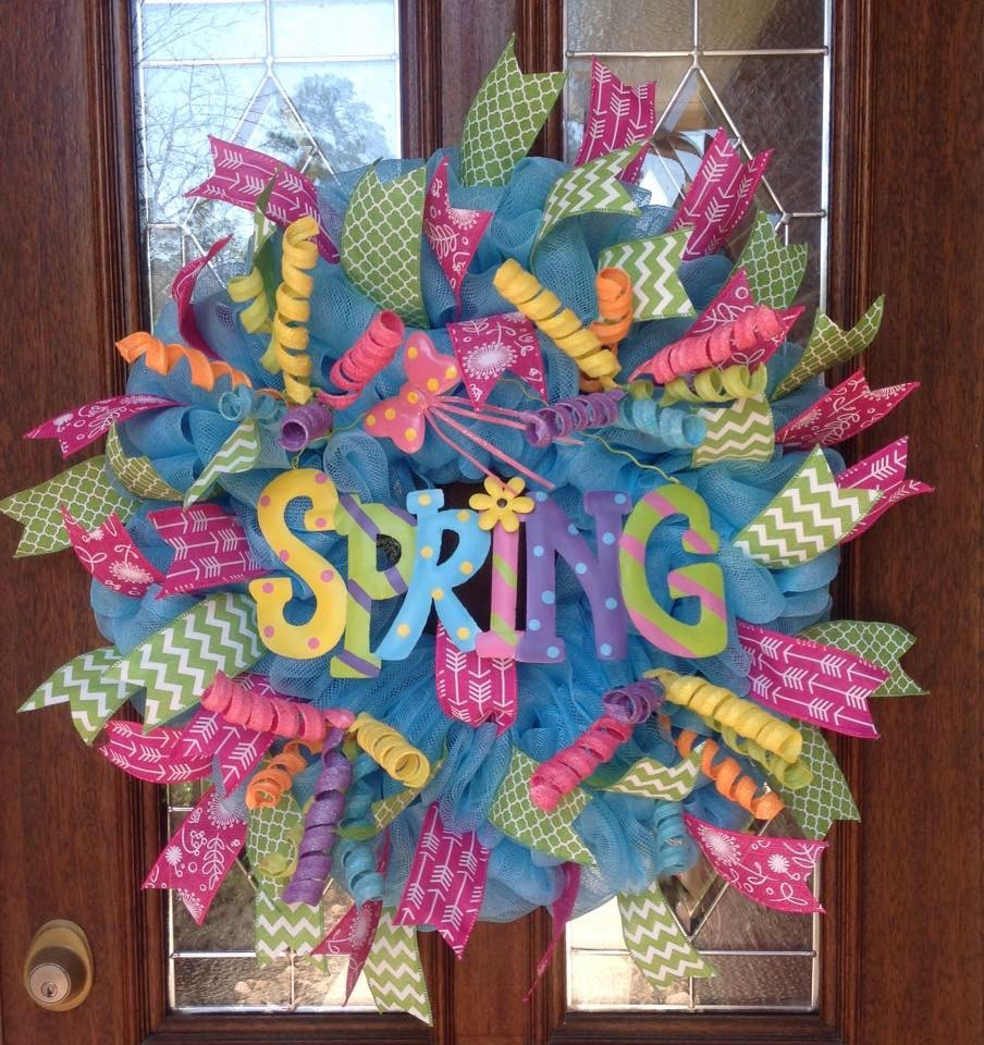 Spring DecoMesh Wreath from Whimsical Wreaths by Amy