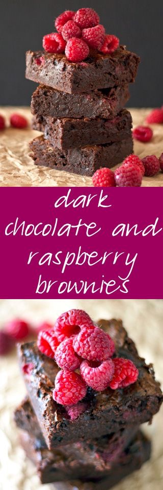 Photo of Dark Chocolate and Raspberry Brownies from ahappyfooddance.com