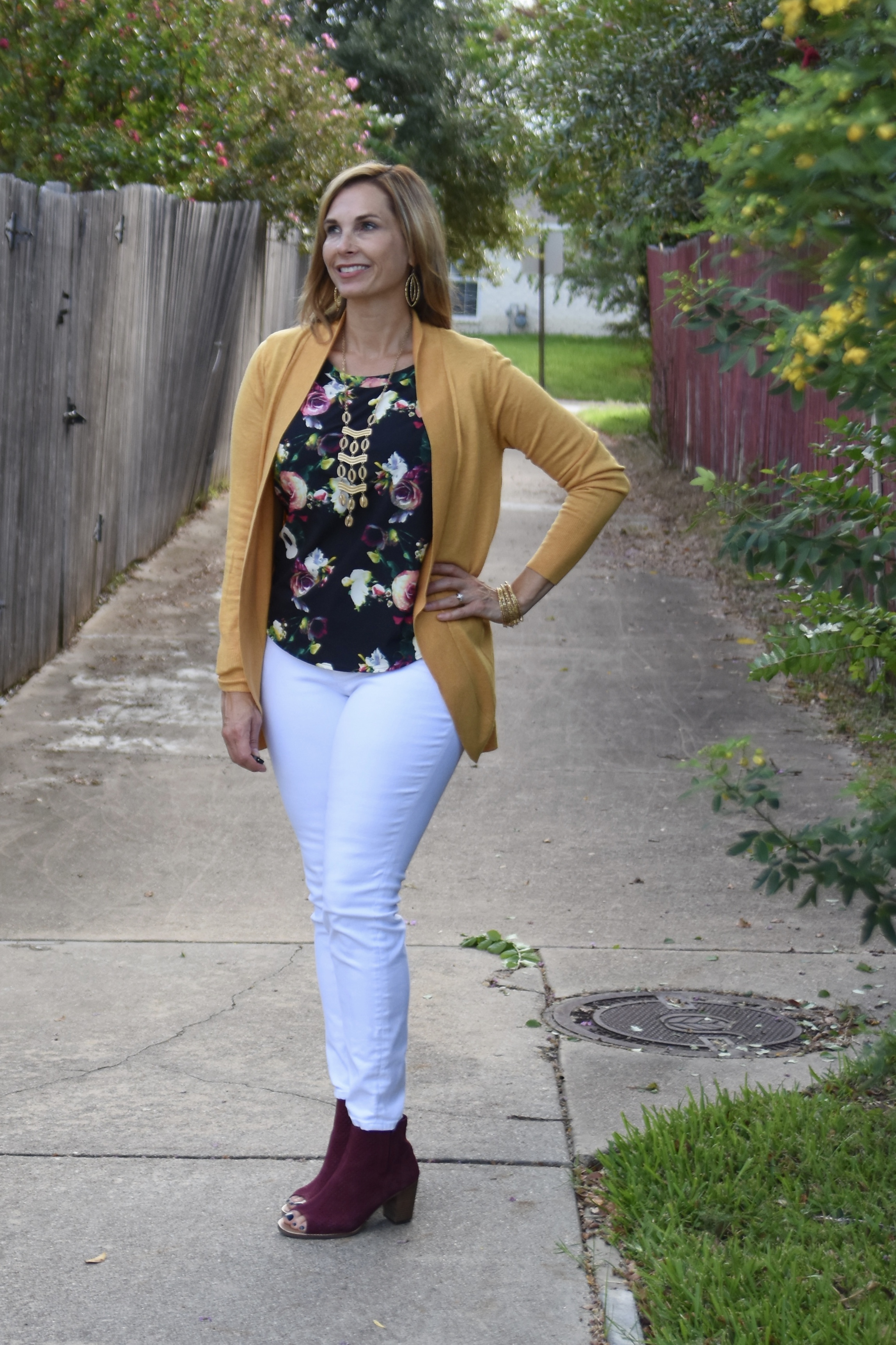 This lightweight mustard colored cardigan is a great summer to fall wardrobe transition piece transforming a summer look for early fall.