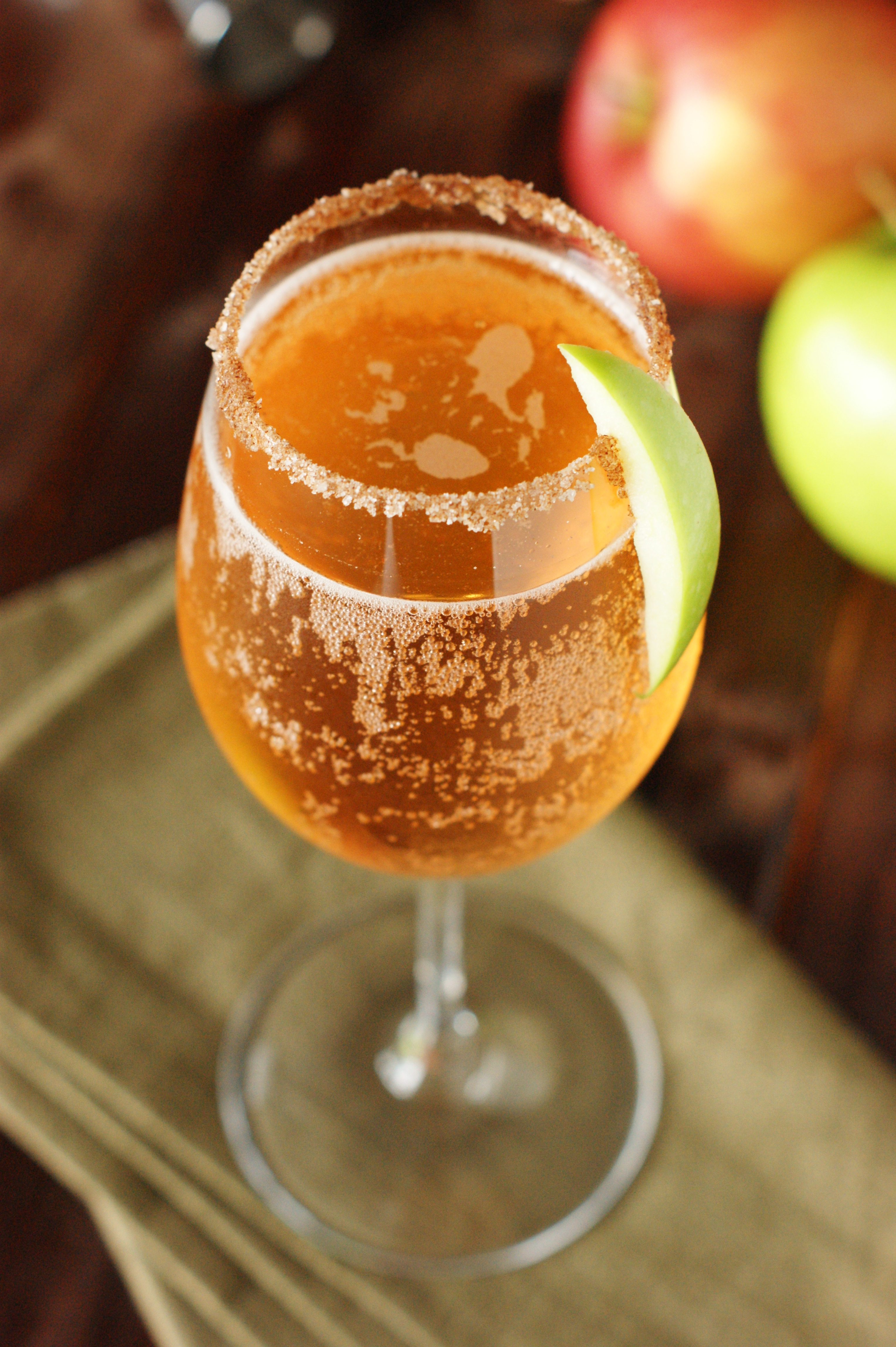 Sparkling Apple Pie Mocktail- honey, apple juice, cinnamon, sparkling apple cider