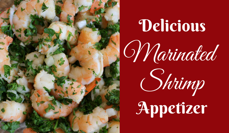 Delicious Marinated Shrimp Appetizer. The perfect make-ahead dish for your next party. Just mix fresh, boiled shrimp with onions and parsley. Mix up the special dressing, pour over the shrimp and refrigerate for 24 hours. Ready to serve!