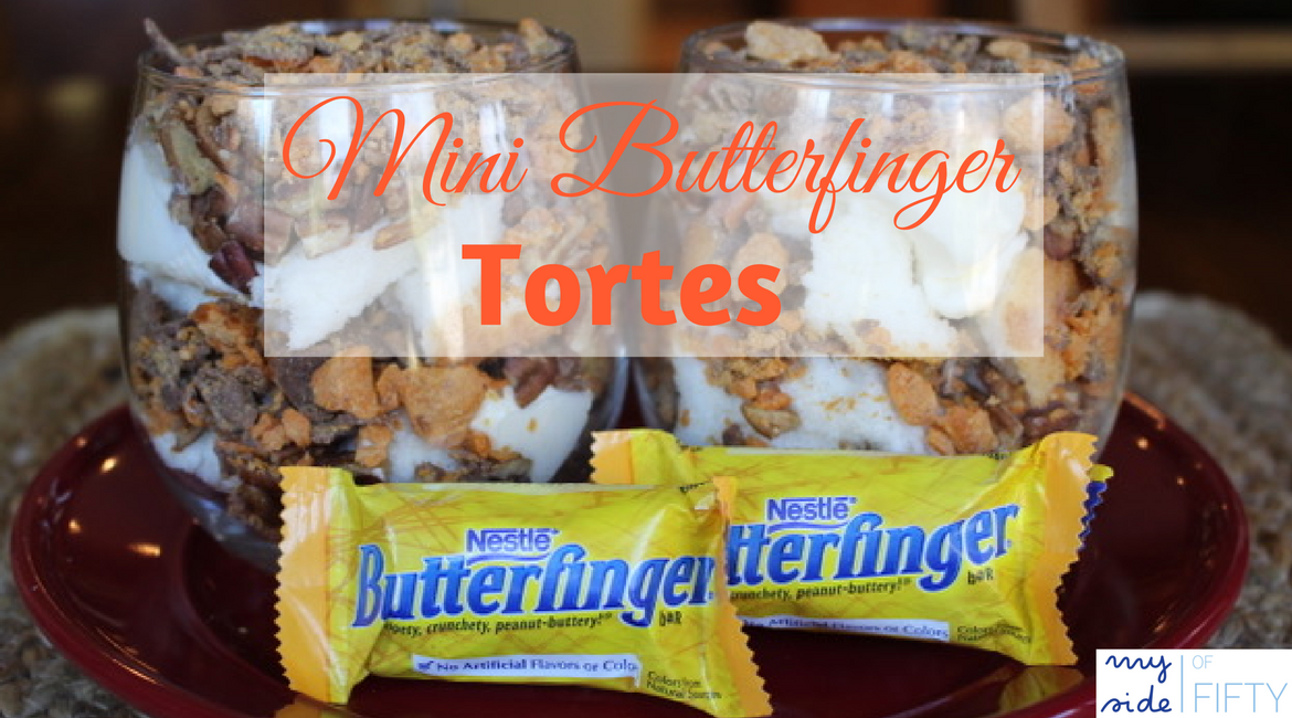 Mini Butterfinger Tortes | Delicious Layered Dessert made with store-bought Angel Food cake, Whipped cream/butter mixture, pecans and crushed Butterfingers