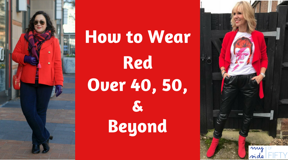 How to Wear Red Over 40, 50 & Beyond | Midlife Fashion Bloggers Rock the Red | Woman in red coat, red plaid scarf, dark rinse jeans, books, purple gloves and black boots. Woman in black leather joggers, graphic tee, red jacket and red booties. Caption: How to Wear Red Over 40, 50 & Beyond | Wear Red | Red for Women | Red Fashion | Red Outfits | Fashion Over 40 | Fashion Over 50 |
