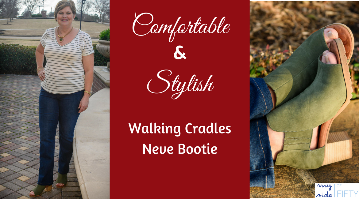 Comfortable & Stylish | Walking Cradles Neve Bootie | Picture of woman in tee, jeans and Neve bootie | Close up of Olive Neve Open Toe Bootie | #booties | booties with jeans | open toe booties