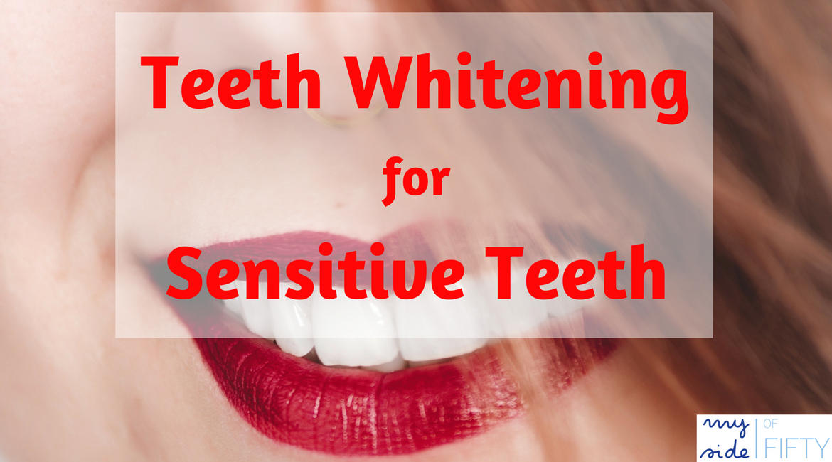 Teeth Whitening for People With Sensitive Teeth | Picture of woman's smile with beautiful white teeth and red lipstick