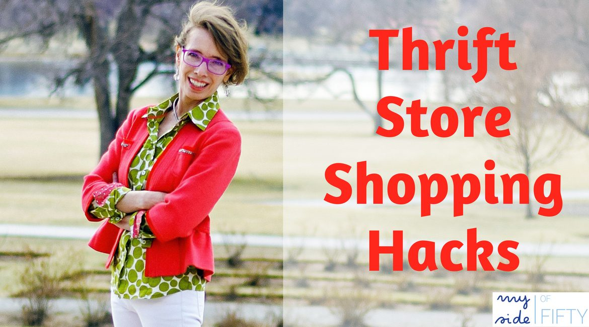 Thrift Store Shopping Hacks. Woman wearing pink blazer, green polka dot blouse and white pants
