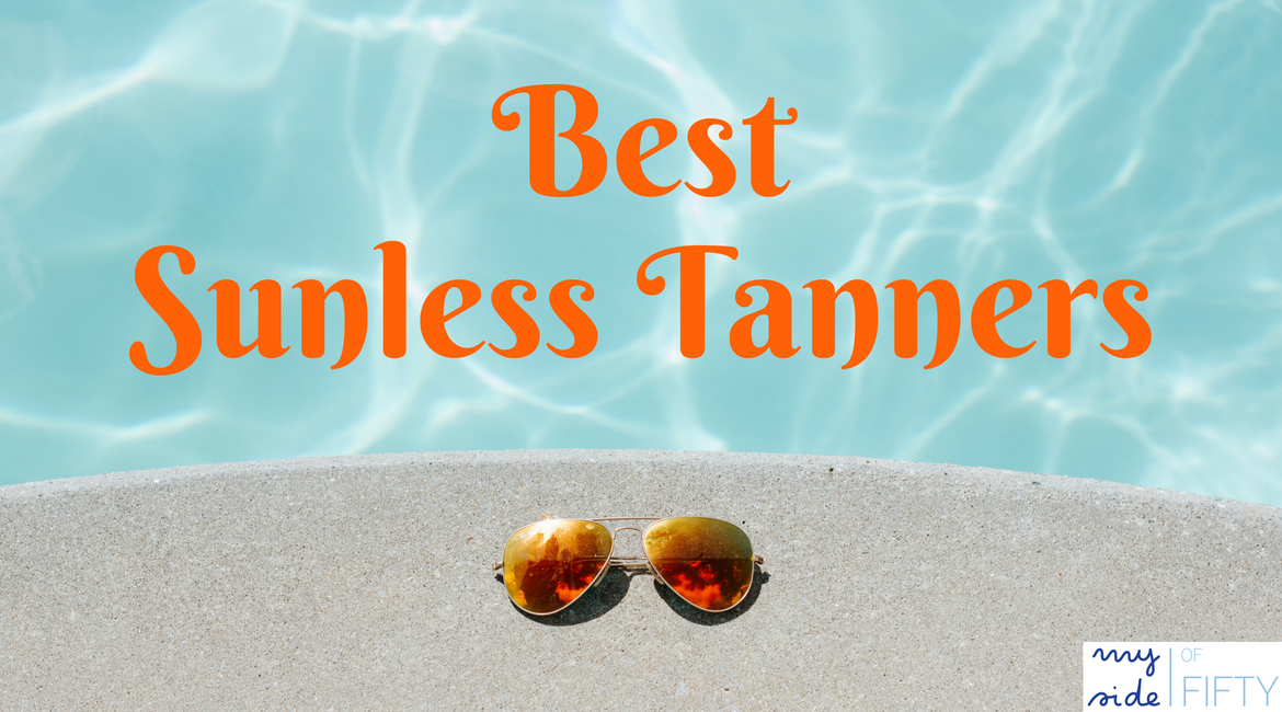Best Sunless Tanners | Picture of Sunglasses on Pool Deck beside a pool