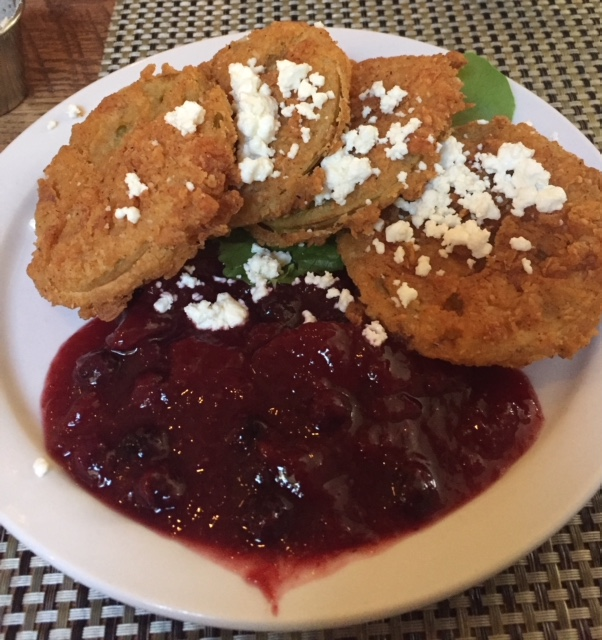 Plate of Fried Green Tomatoes with Peach and Blueberry Chutney