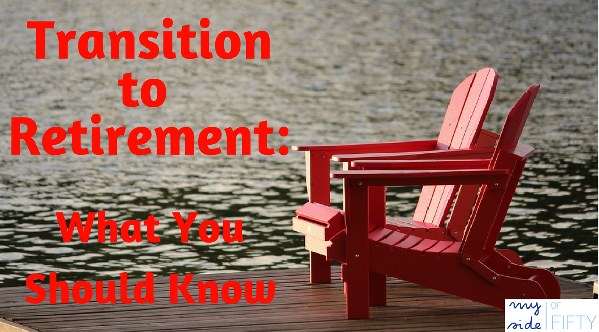 Transition to Retirement: What You Should Know. Picture of two red lounge chairs on dock of a bay. Caption: Transition to Retirement: What You Should Know