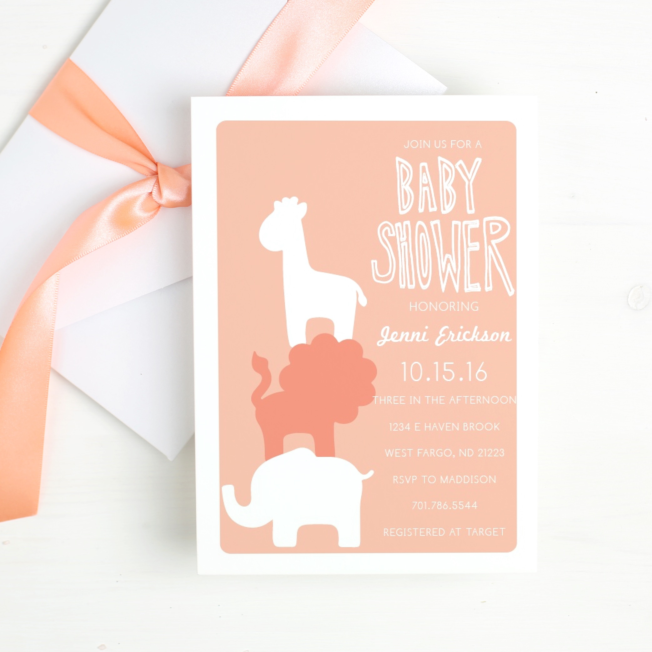 Basic Invite Safari Themed Baby Shower Invitations | Picture of Baby Shower invitation with elephant, lion & giraffe