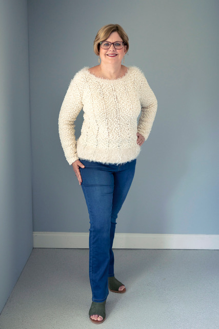 Fashion for Women Over 50 | Picture of Cathy Lawdanski in white sweater and jeans by Ethyl Clothing