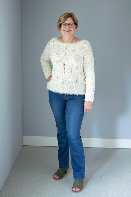 Picture of Cathy Lawdanski in white sweater and jeans by Ethyl Clothing