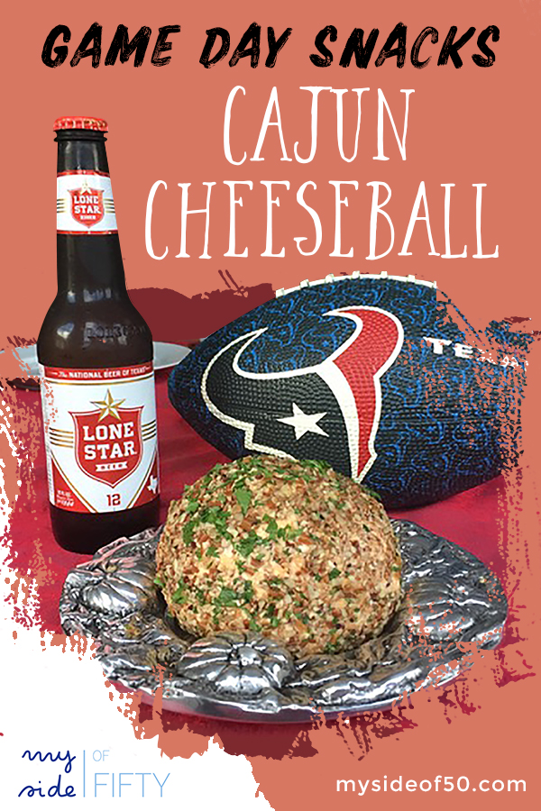 Game Day Snacks | Cajun Cheeseball | Picture of Cajun Cheeseball, Bottle of Lone Star Beer and Blue and Red Houston Texans Football