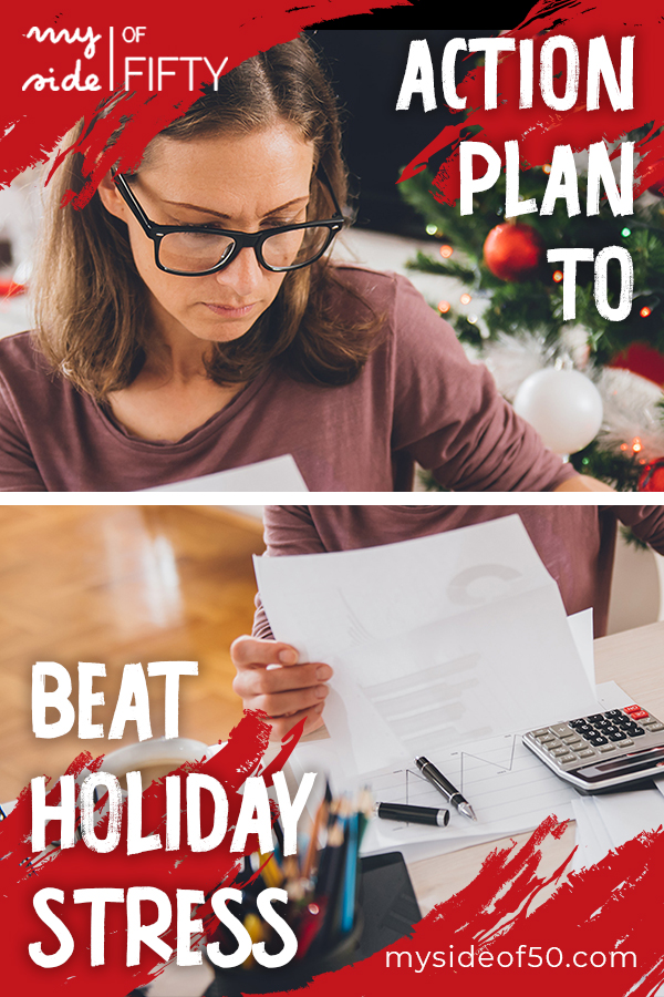Action Plan to Beat Holiday Stress | Picture of stressed out woman wearing glasses looking over holiday bills.
