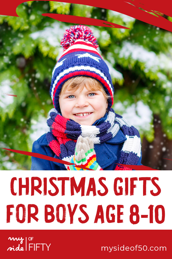 Best Gifts for Boys Age 8-10 | Young Boy outside in the cold with red, white & blue hat & scarf