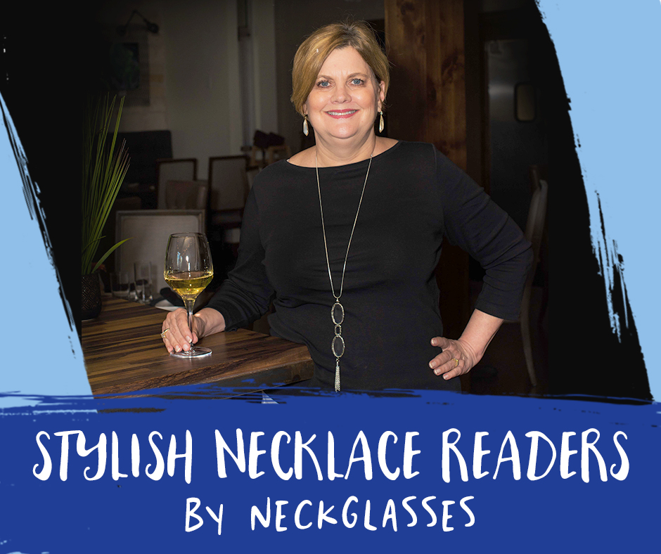 Stylish Necklace Readers by Neckglasses | Woman reading a menu using Neckglasses