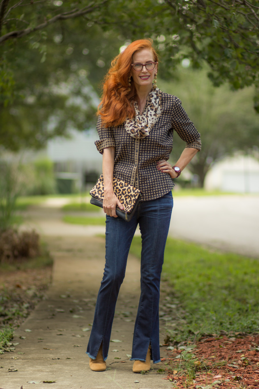 9c68d5d1a4ef Regan from Nifty 50 and Fabulous and Suzanne from Crazy Blonde Life both  had the same idea for early fall in the south! Black tops and pants with  animal ...