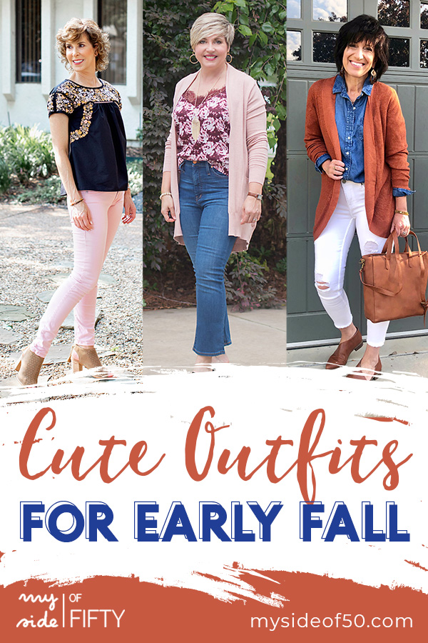 Summer to Fall Outfits | Summer to Fall Transition Looks | Graphic with 3 women in different fall outfits. Words - Cute Outfits for Early Fall