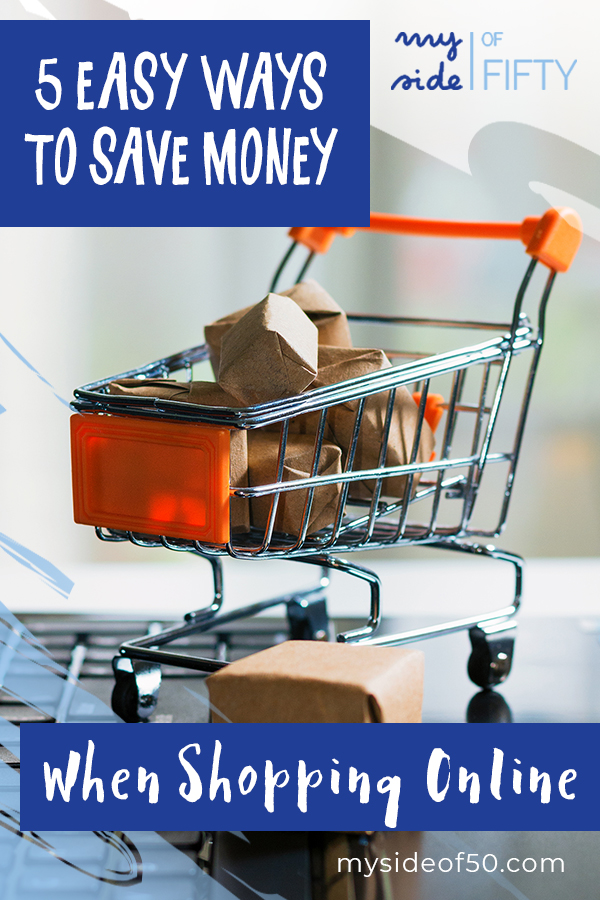 5 Easy Ways To Save Money When Shopping Online | Picture of grocery cart with boxes wrapped in brown paper