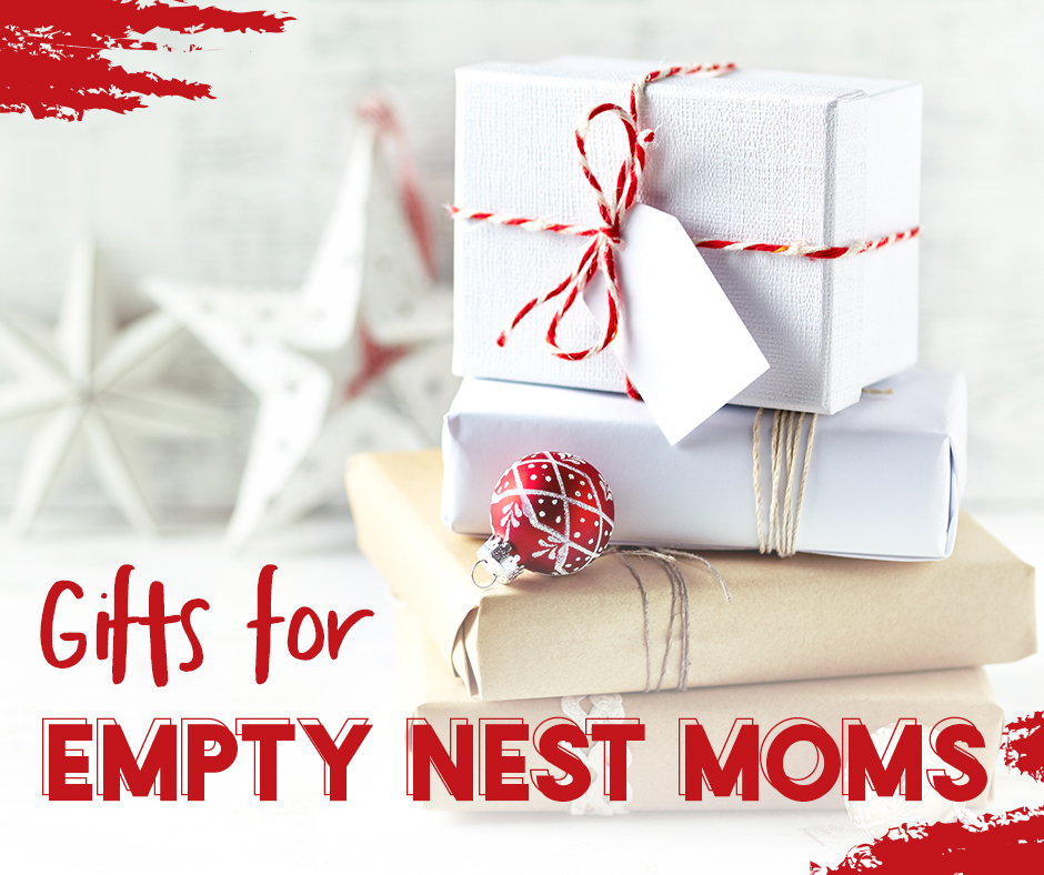 Gift for Empty Nest Moms | Picture of two gifts wrapped in white paper with red bows.