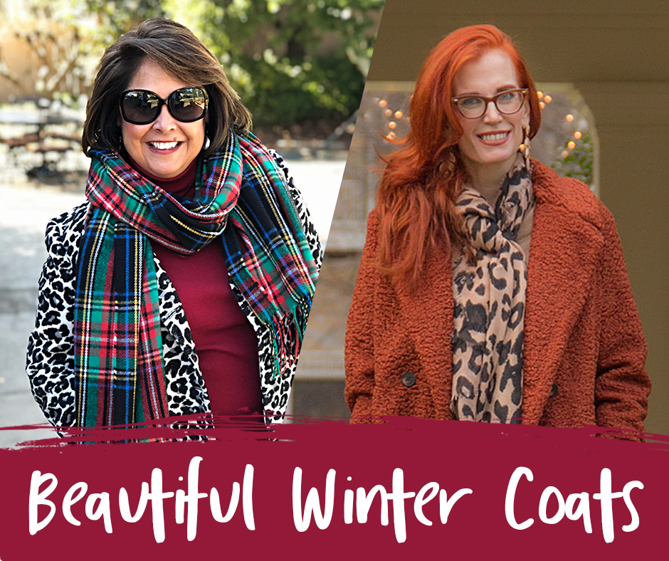 Women's Winter Coats on Sale | Beautiful Coats for Women 50+ | Woman on left with brown hair, sunglasses, leopard coat and plaid scarf. Woman on Right with long red hair, glasses, leopard scarf and rust colored teddy bear coat