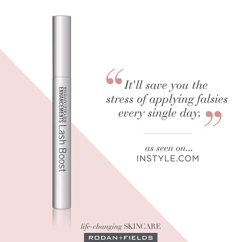"How to Make Your Eyelashes Look Longer | Picture of Rodan + Fields Lash Boost with text ""It'll save you the stress of applying falsies every single day."" as seen on InStyle.com"