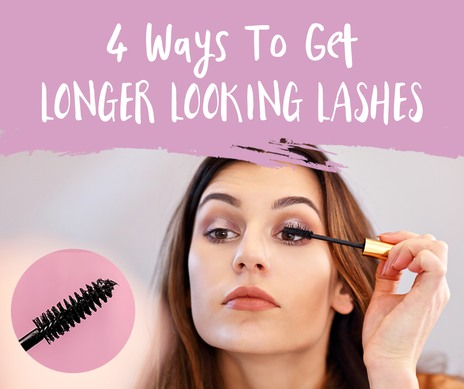 How to Make Your Eyelashes Look Longer | Text 4 Ways to Get Longer Looking Lashes | Picture of woman with long brown hair putting on mascara