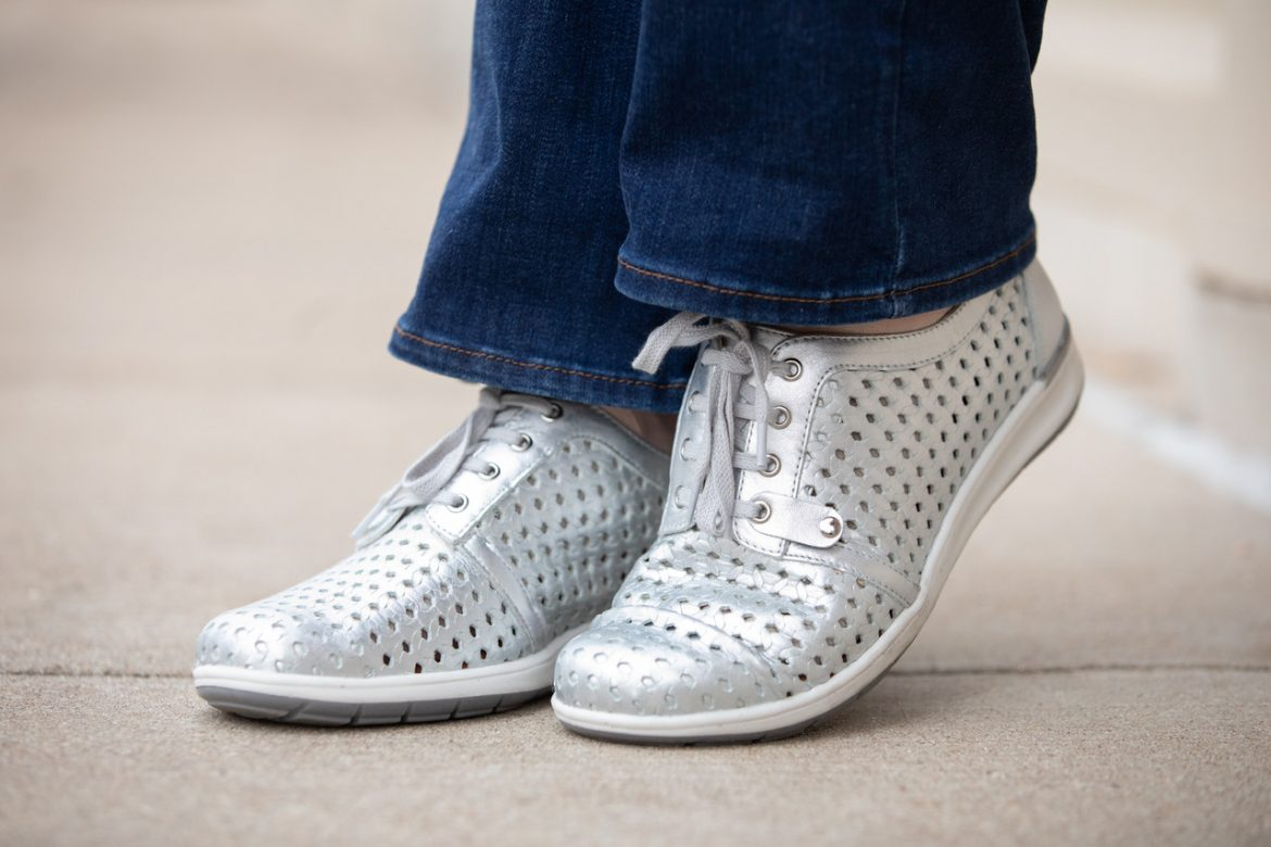 Walking Cradles Shoe Review | Oasis Perforated Sneakers | Picture of Oasis Perforated Sneakers in Metallic Silver