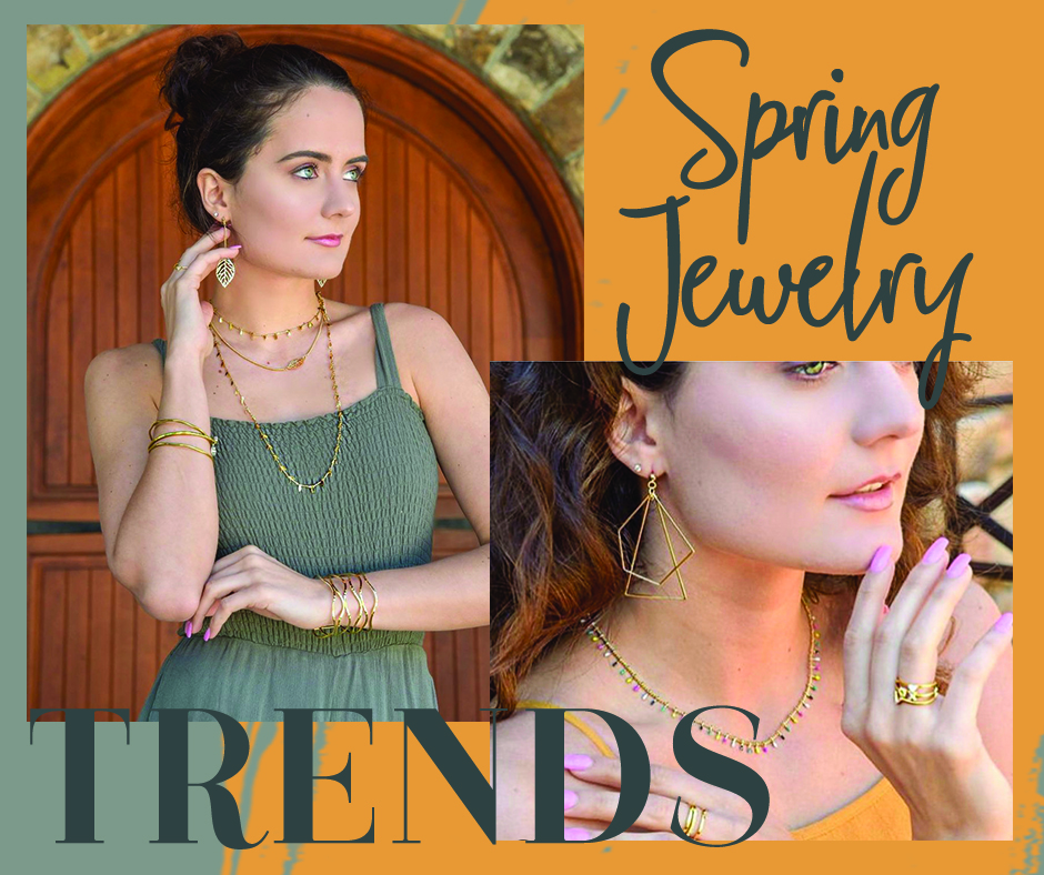 Spring Jewelry Trends |Two women wearing gold necklaces and earrings